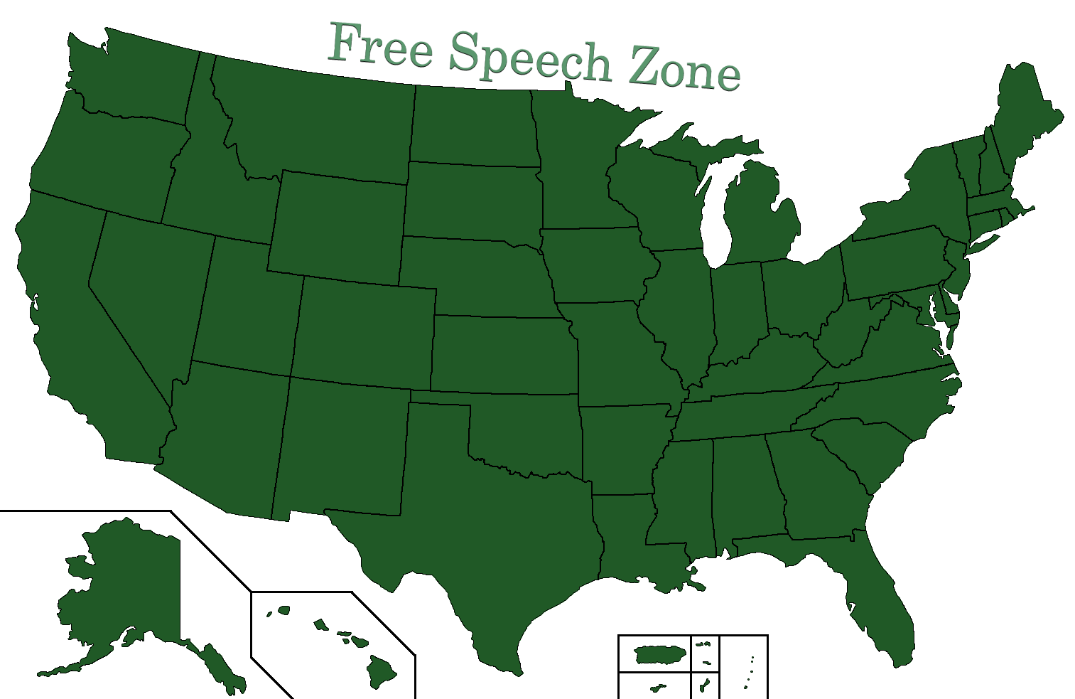 Free Speech Zone: A Map of the United States of America